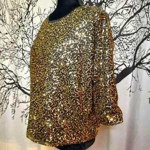 Gold Sequin Round Neck Batwing 3/4 Sleeve Top
